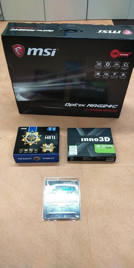 自作ゲーミングPC(パソコン) i7-4770 メモリ8GB GT1030 & MSI MAG24C ゲーミング曲面モニター_画像2