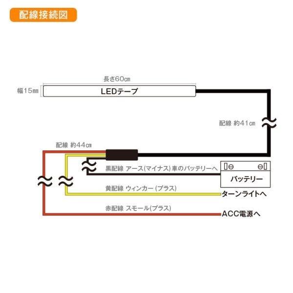 シリコンチューブ 60cm シーケンシャルウインカー 流れるウインカー LEDテープ ライト ホワイト/アンバー 白 黄 2本 ドレスアップ 防水_画像5