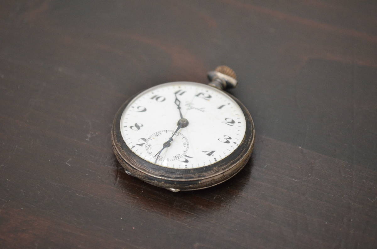 ★R-043184 Cycla 懐中時計 手巻き 銀製 シルバー 0.800 刻印あり