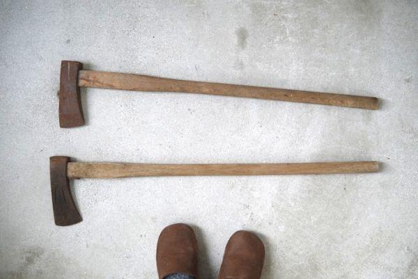 OT2233 斧 2本 刃幅約7.5cm/7.2cm ■製材道具/大工道具/薪割り/工具/古民具/古道具/山師/時代/スロデパ_画像5