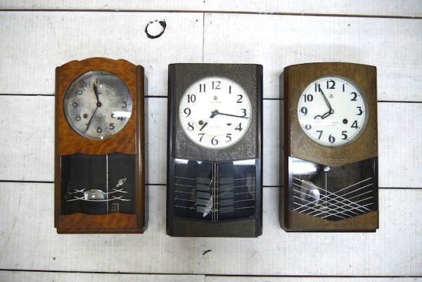 HE958 振り子時計 3個まとめて アイチ/MINUET ■ネジ巻付/ゼンマイ/ボンボン時計/柱時計/壁掛時計/古時計/インテリア/時代/スロデパ