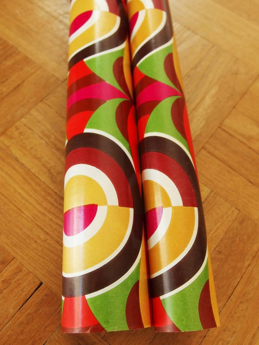 在庫わずか! スイス製 ヴィンテージ&レトロ ワックスペーパー,包装紙 (ザ!レトロ8)_80cm単位で延長可能、延長の場合は1枚紙