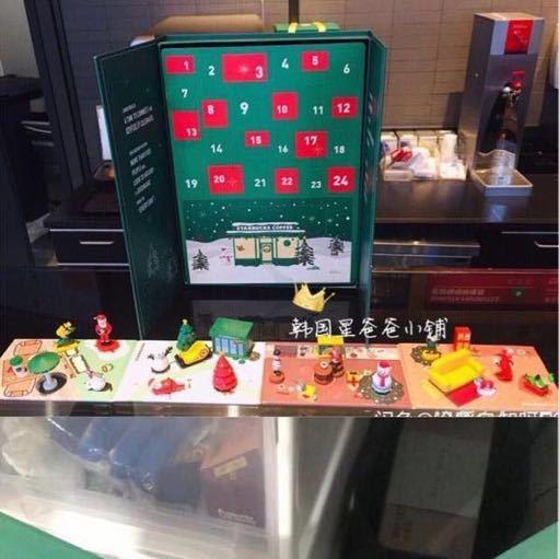 台湾 スターバックス 韓国 中国 海外 アドベントカレンダー クリスマス 2018 プレゼントボックス フィギュア ベアリスタ 熊 マスコット小物_画像2