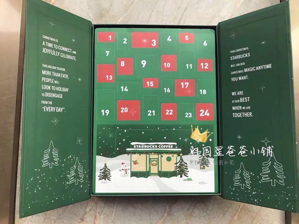台湾 スターバックス 韓国 中国 海外 アドベントカレンダー クリスマス 2018 プレゼントボックス フィギュア ベアリスタ 熊 マスコット小物_画像1