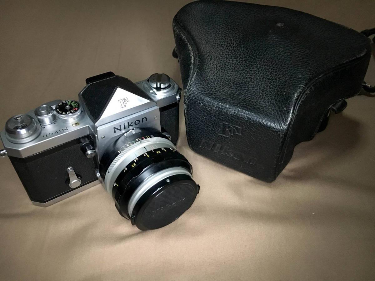 Nikon F フィルムカメラ 一眼レフ ボディ 初代 F 50mm f1.4 レンズ セット ニコンF 専用ケース,ストラップつき 露出計はおまけです