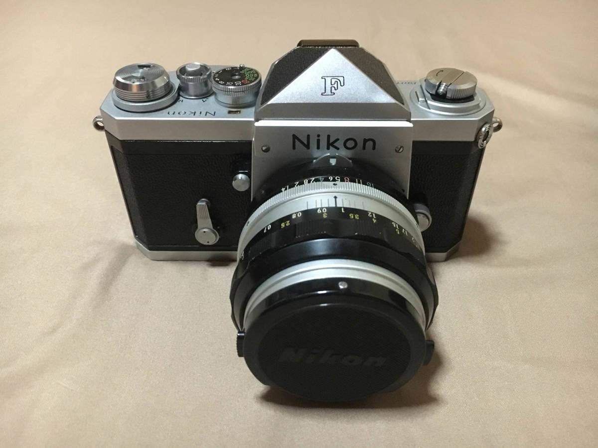 Nikon F フィルムカメラ 一眼レフ ボディ 初代 F 50mm f1.4 レンズ セット ニコンF 専用ケース,ストラップつき 露出計はおまけです_画像2
