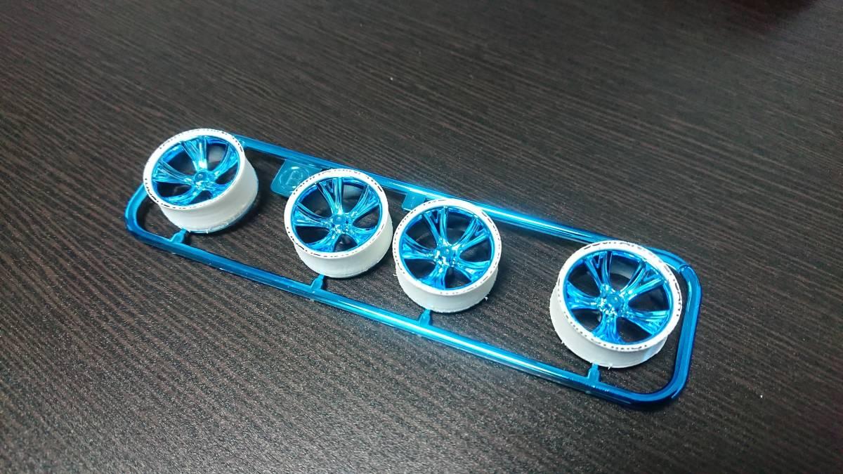 ミニ四駆 ローハイトペラタイヤ 白ハード ブラックプリント ブルーメッキホイール付き 限定激レア_画像1