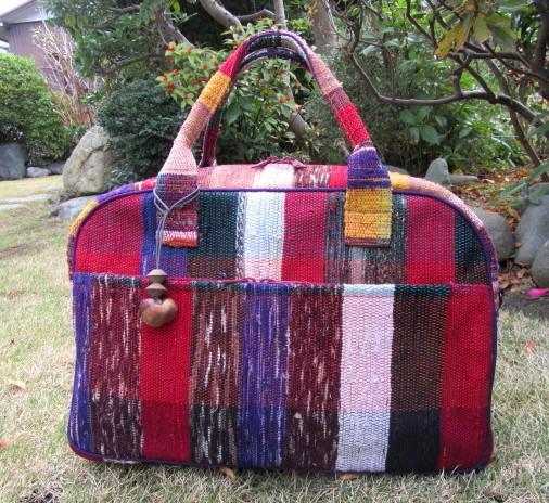 裂き織り バッグ  1点物 裂織 古布 リメイク ボストンバッグ 時代物 ハンドメイド 着物リメイク アンティーク