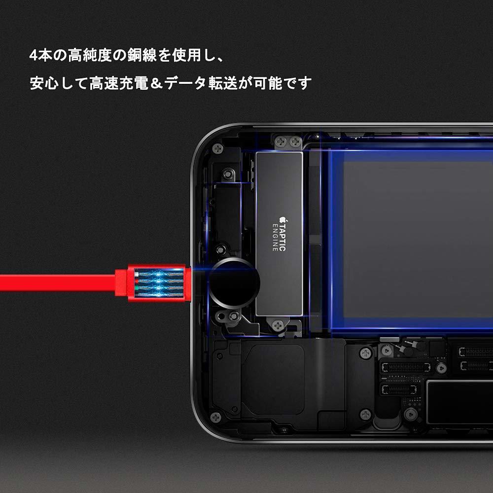 オーコニー USB 充電ケーブル コンパクト ライトニングケーブル 収納式 急速充電 高速データ転送 断線防止 耐久伸縮式 巻き取り式 5_画像4