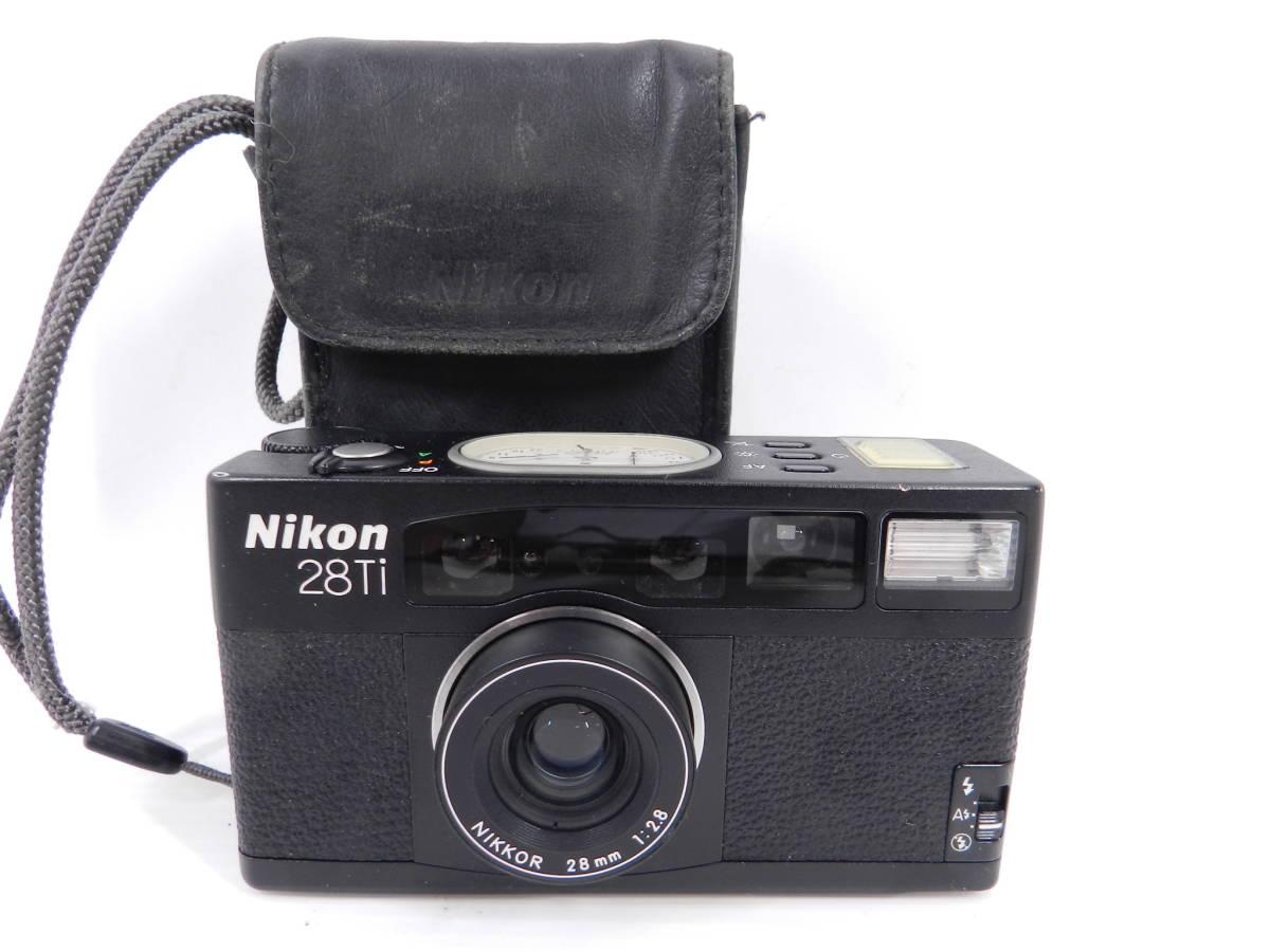 動作品/ニコン/高級コンパクトカメラ/Nikon 28Ti NIKKOR 28mm F2.8/ケース付属/チタン/アナログ指針/完動/C1220