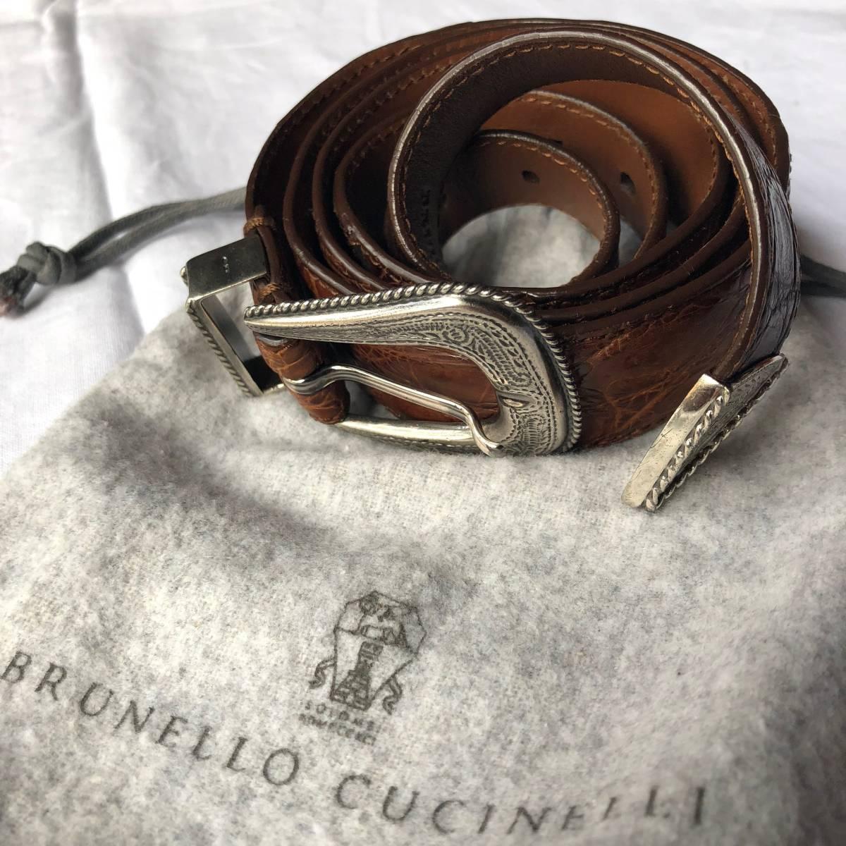 3942b44ca596 『定価27万☆Brunello Cucinelli ブルネロクチネリ☆純銀925&クロコダイル☆プンターレ ベルト