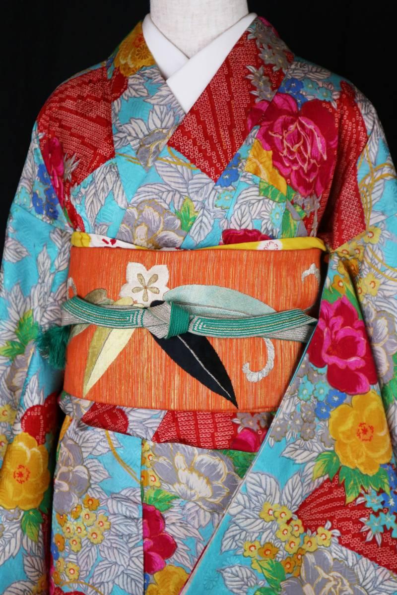 ★☆★アンティーク大正ロマン インパクト大!!鮮やかなバラに檜扇小紋★小学生の袴、十三参り、二分の一成人式に☆送料無料★
