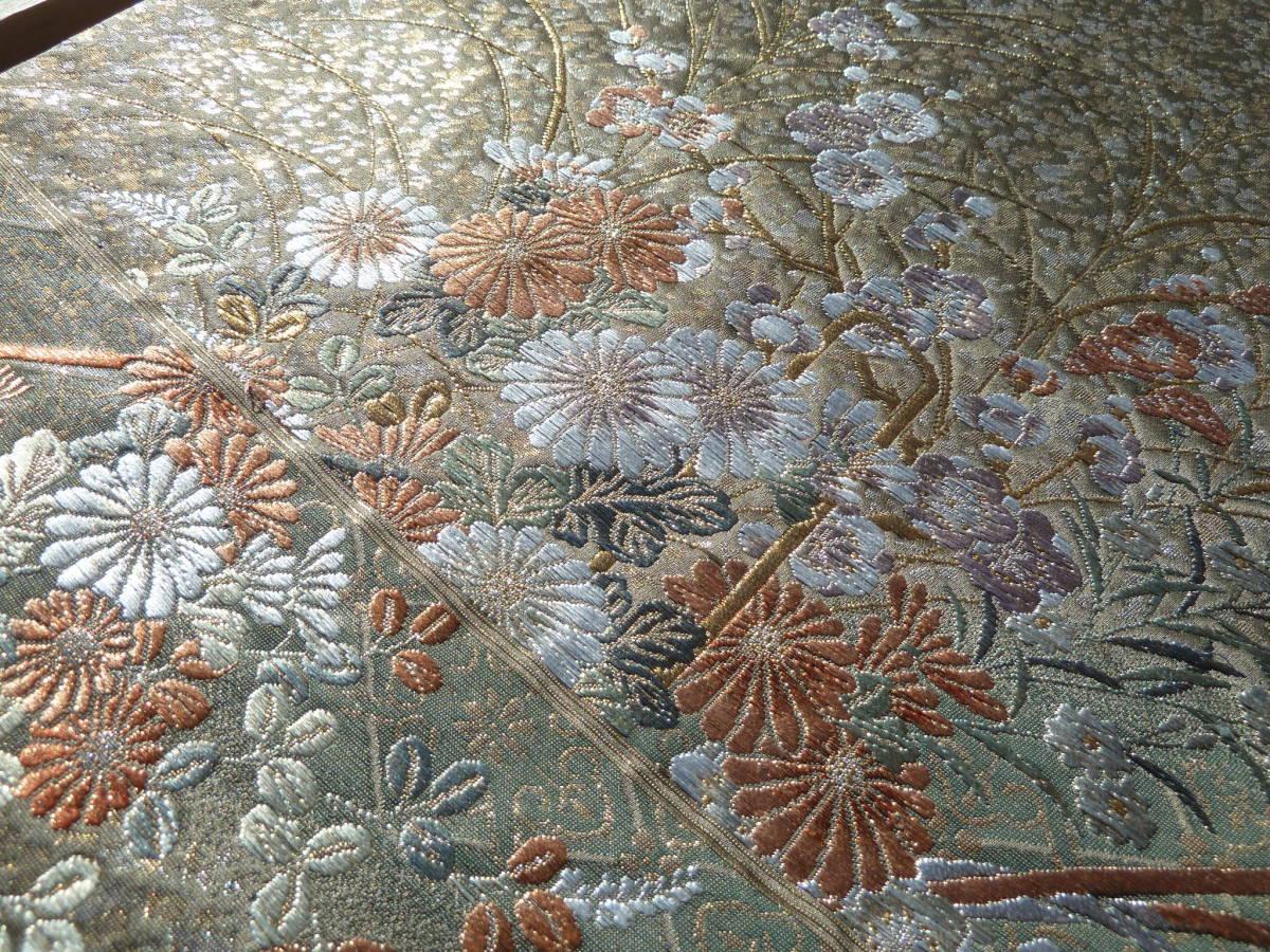 ② 明日香 工芸品 逸品 西陣織 正絹 純金糸 手織り 高級美術袋帯 検)着物袋帯