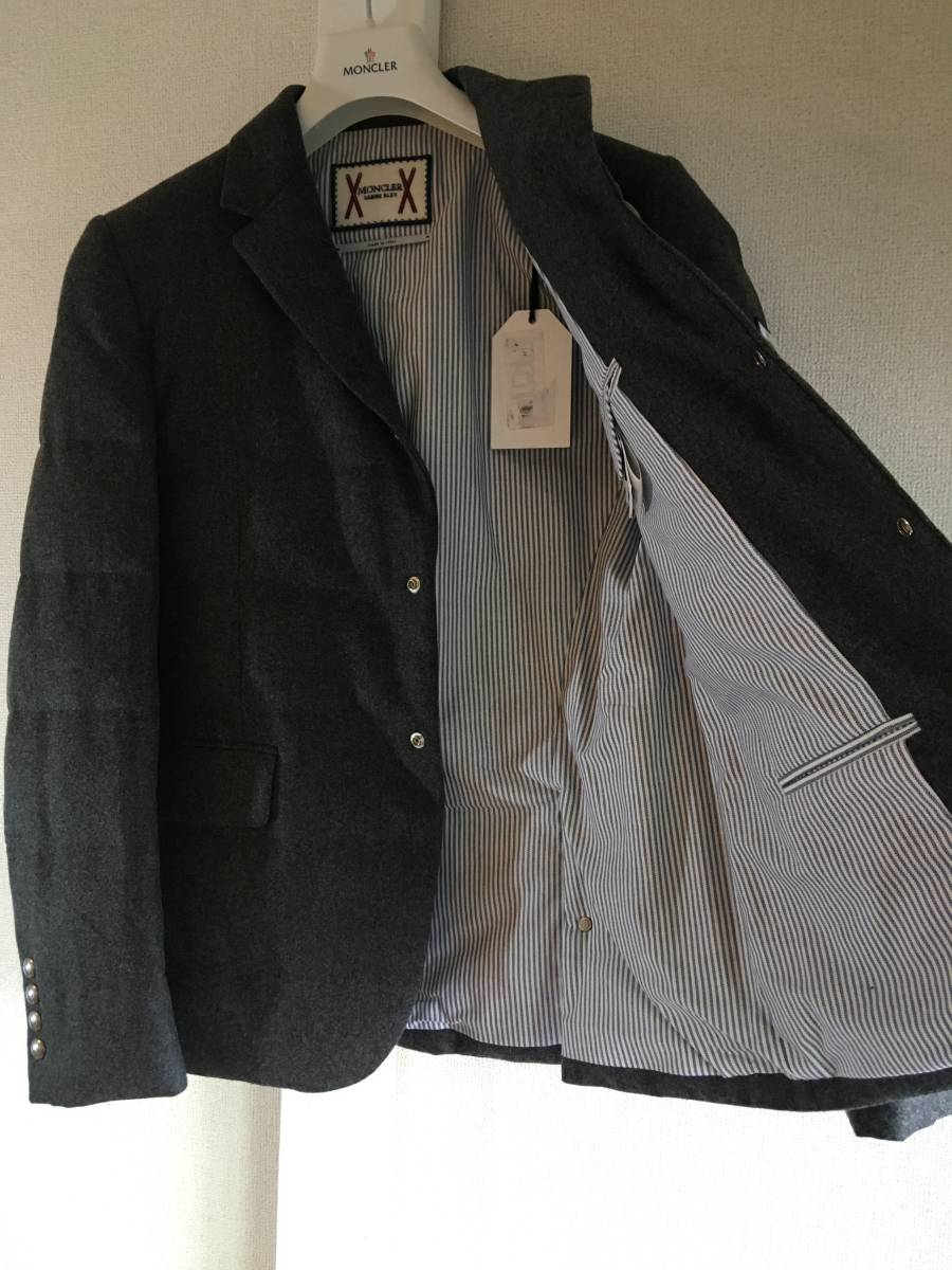 新品 本物 モンクレール ガムブルー ウール 100% ダウン ジャケット 2 MONCLER GAMME BLEU グレー シルバー コート_画像7