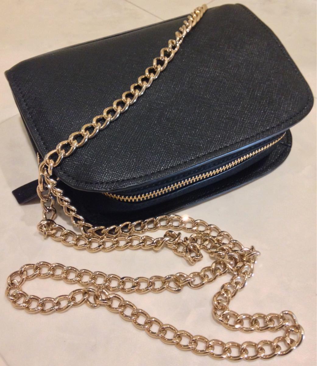 1ff6843b3ac6 ... レザー革調チェーンショルダー兼ハンドバッグ/ブラック×ゴールド黒×金/女性レディースブランド鞄. 商品數量: :1