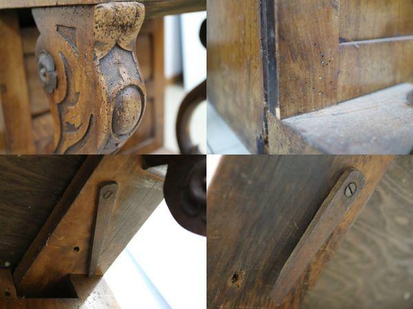 古いストリートオルガン手回しオルガンディスク式 家具型_画像3