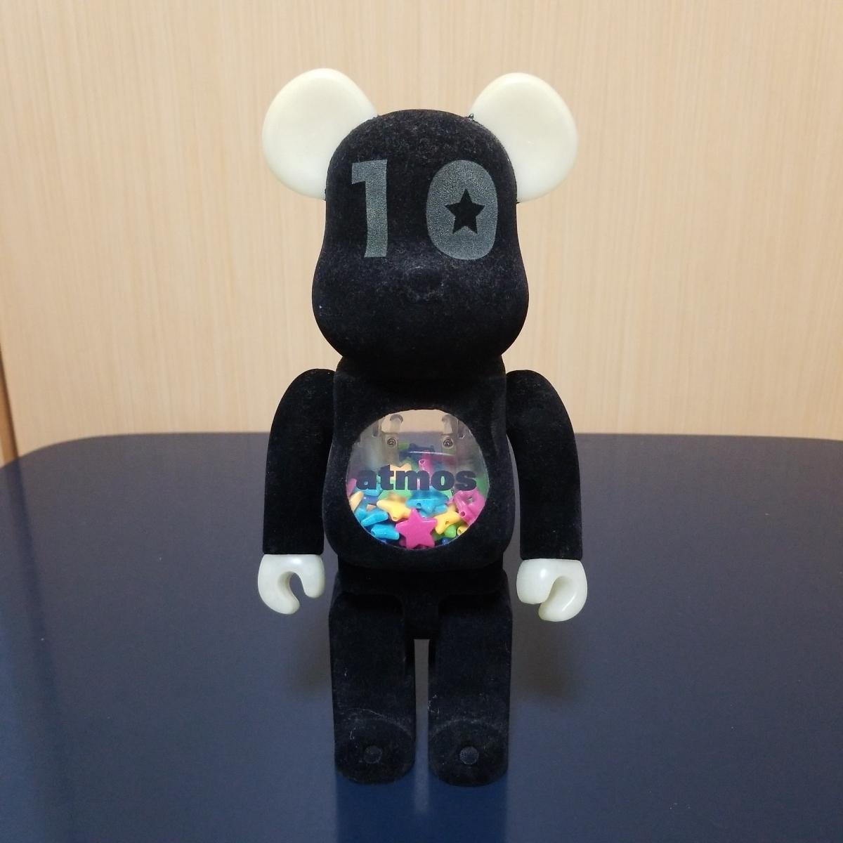 メディコムトイ BE@RBRICK ベアブリック アトモス atmos 10周年記念モデル 400% フロッキー 蓄光_画像1
