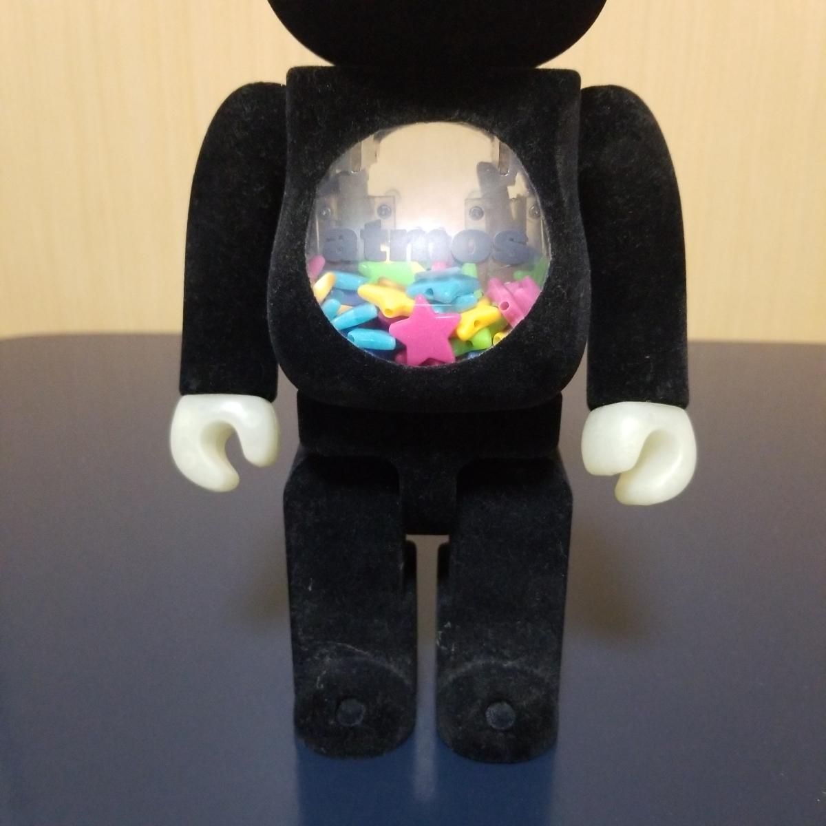 メディコムトイ BE@RBRICK ベアブリック アトモス atmos 10周年記念モデル 400% フロッキー 蓄光_画像3