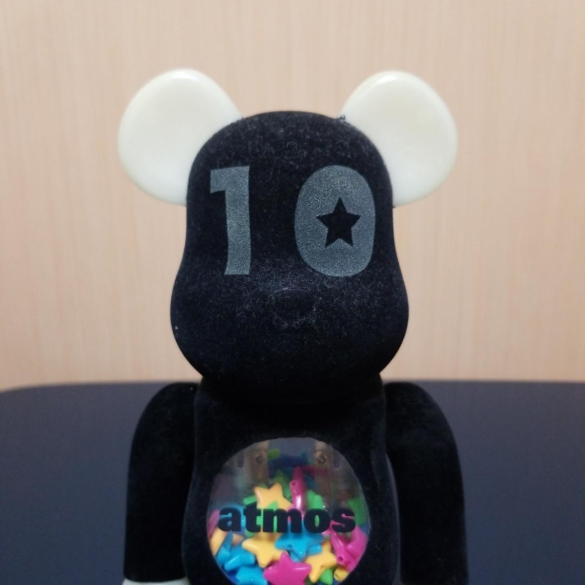メディコムトイ BE@RBRICK ベアブリック アトモス atmos 10周年記念モデル 400% フロッキー 蓄光_画像2