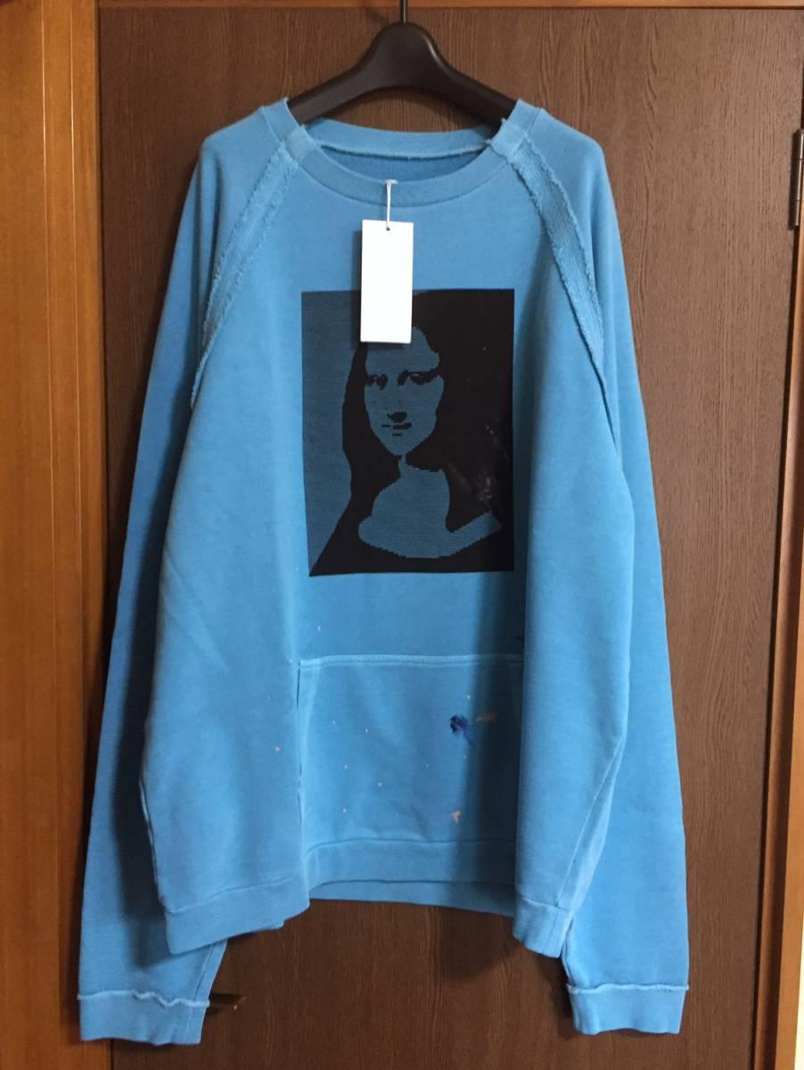 18AW新品48 メゾンマルジェラ オーバーサイズ モナリザ スウェット size 48 M Maison Margiela 10 マルタンマルジェラ メンズ ブルー