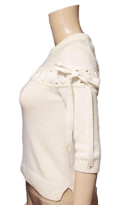 【1点限り 即決】美品 FENDI フェンディ カシミヤ100% リボン ステッチ ニット セーター 七分袖 ホワイト size 38 レディース 国内正規_画像2
