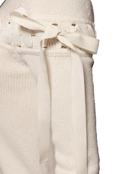 【1点限り 即決】美品 FENDI フェンディ カシミヤ100% リボン ステッチ ニット セーター 七分袖 ホワイト size 38 レディース 国内正規_画像3