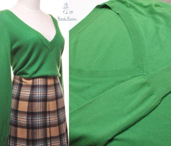 ★ac910☆ ロペピクニック ROPE' PICNIC アンゴラ混 長袖 ニット緑 深Vネック きれい色 グリーン レディース トップス_画像6