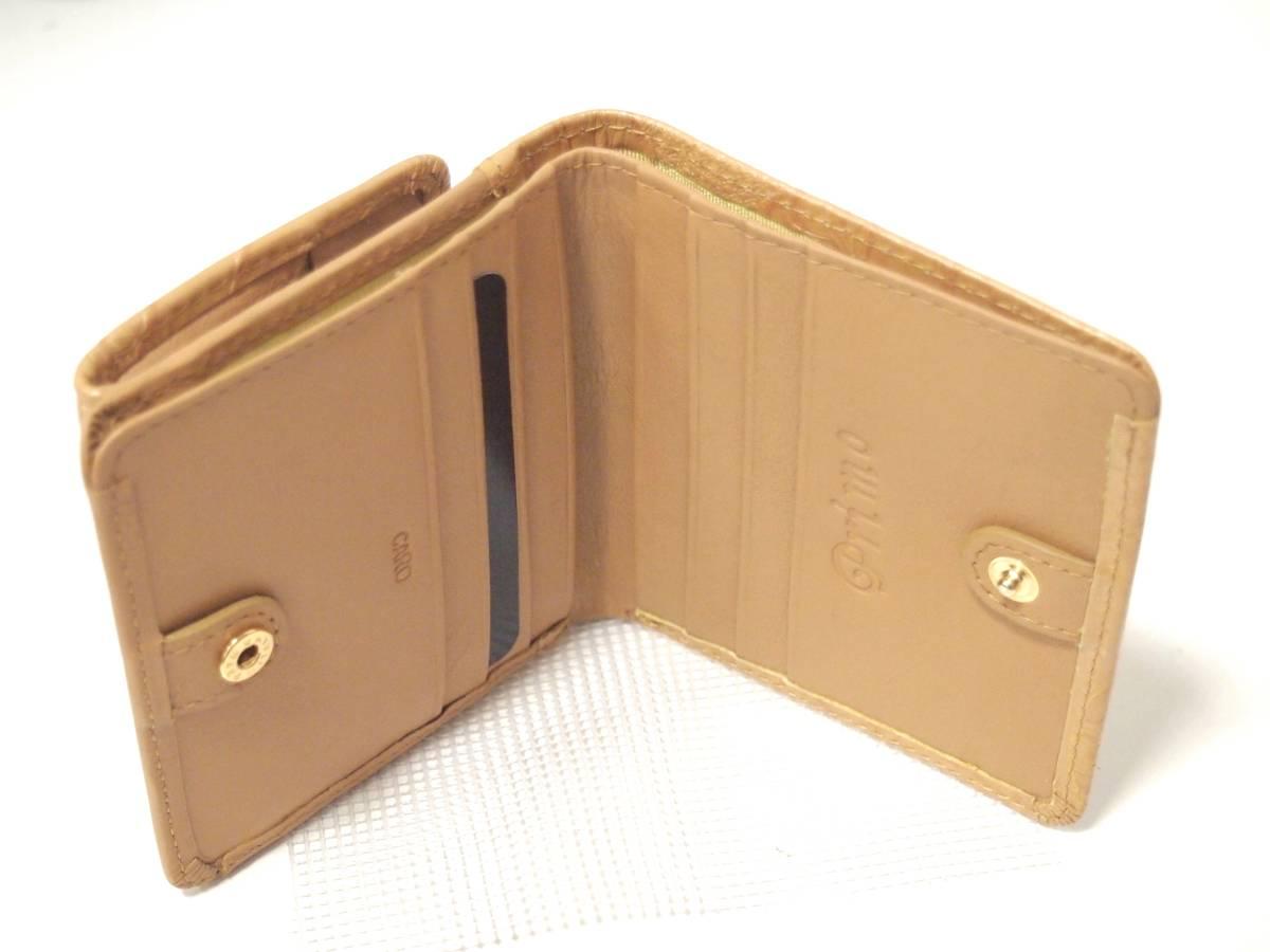 ボタニカル型押し 二つ折り財布 ボックス 型小銭入れ レディース 新品 本革 レザー ゴールド イエロー 牛革 サイフ ギャルソン box_画像2
