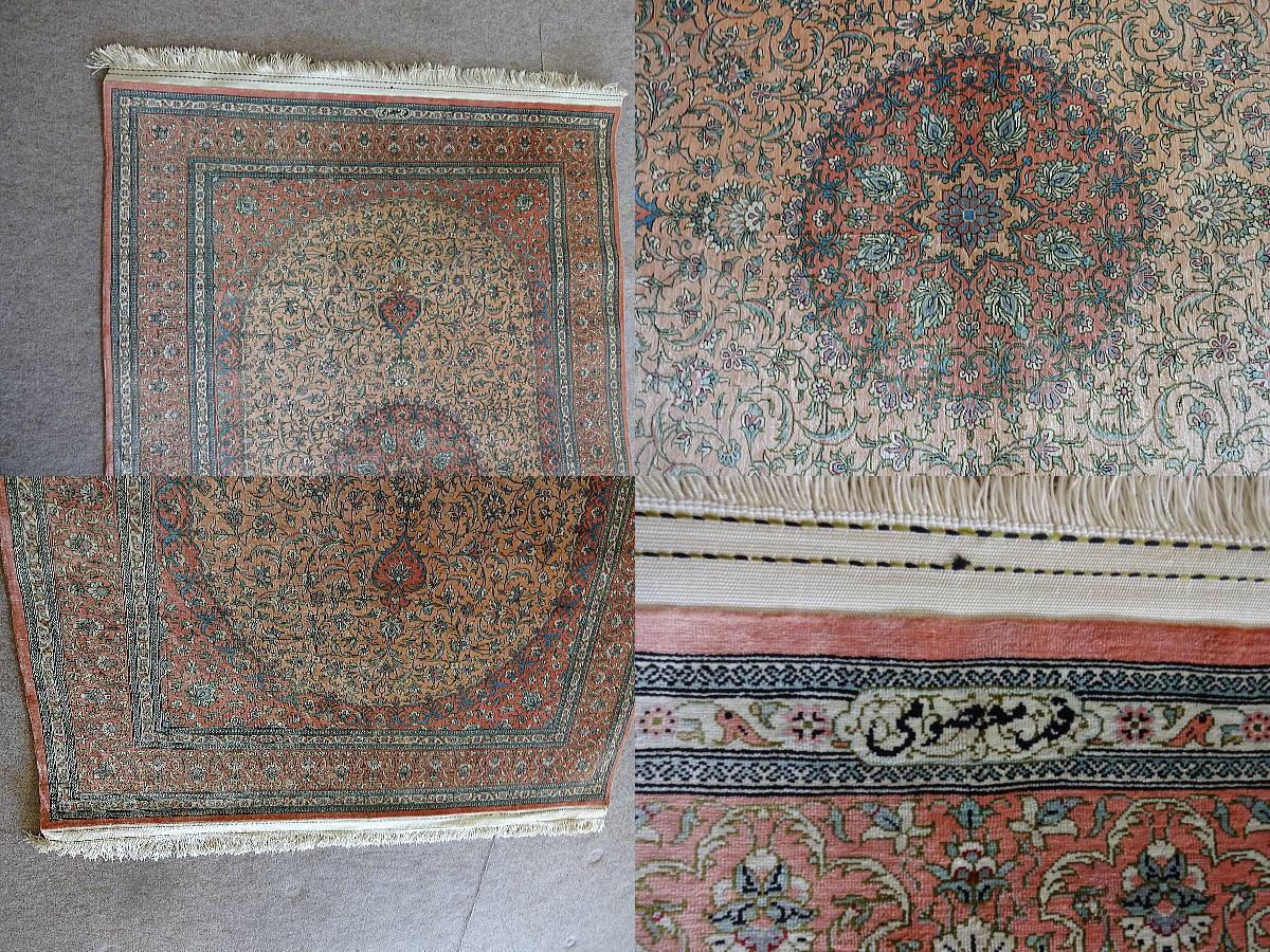 超美品【最高級】ペルシャ絨毯 マスミ工房 クムシルク 名入り _画像2