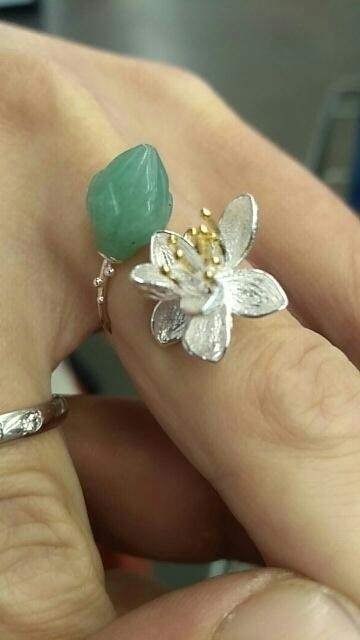 新品 Silver925 シルバーリング 大粒天然石 グリーンカルセドニー ハンドメイド指輪 フリーサイズ ジュエリー 和装小物 女性 レディース_画像6