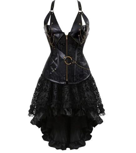 スチームパンク ヴィンテージ コルセットドレス セクシー レザー ゴシック パンク コルセット・スカート セット 大きいサイズ有 ブラック_画像2