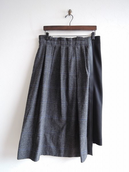 ■ Zucca ZUCCA * Tape Docking Check Skirt * M Wool Different Material Switching Easy Rubber Himo Flannel Knit Ladies 1218 [03L81]