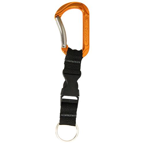 SK11・アルミカラビナ・バックル付き・SAC-80OBオレンジ・鍵の携帯などにどうぞ。カラビナ・幅45ミリ。クリックポスト発送可_画像1