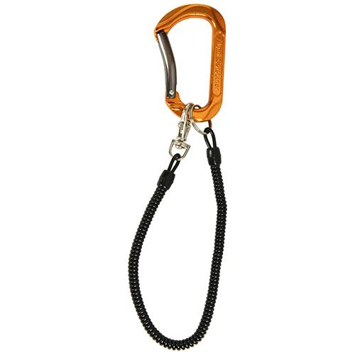 SK11・アルミカラビナ・コード付き・SAC-80WCオレンジ・鍵の携帯などにどうぞ。カラビナ・幅45ミリ。クリックポスト発送可_画像1