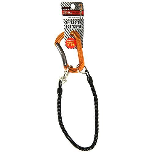 SK11・アルミカラビナ・コード付き・SAC-80WCオレンジ・鍵の携帯などにどうぞ。カラビナ・幅45ミリ。クリックポスト発送可_画像2