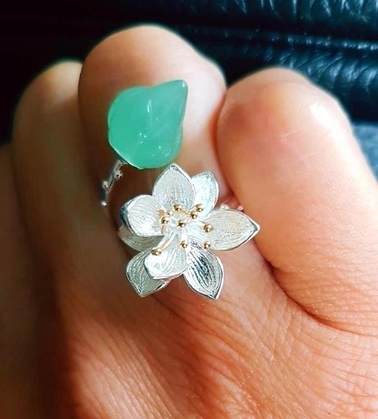 新品 Silver925 シルバーリング 大粒天然石 グリーンカルセドニー ハンドメイド指輪 フリーサイズ ジュエリー 和装小物 女性 レディース_画像5