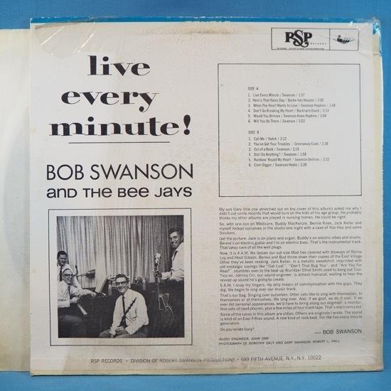 ■シュリンク美品! 素晴らしい60's POP ROCK! ★BOB SWANSON&BEE JAYS/LIVE EVERY MINUTE!★自主RSP! オリジナル名盤■_画像2