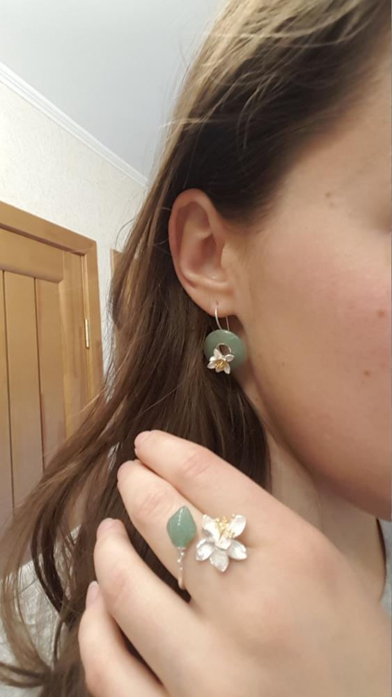 新品 Silver925 シルバーリング 大粒天然石 グリーンカルセドニー ハンドメイド指輪 フリーサイズ ジュエリー 和装小物 女性 レディース_画像8