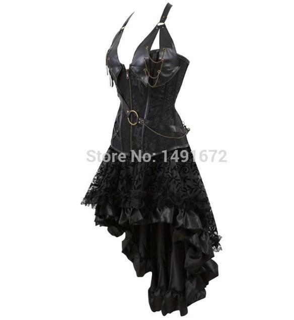 スチームパンク ヴィンテージ コルセットドレス セクシー レザー ゴシック パンク コルセット・スカート セット 大きいサイズ有 ブラック