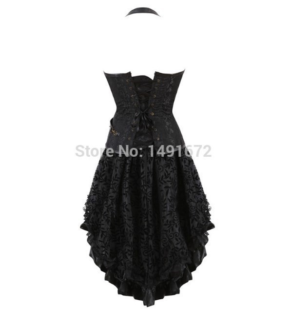 スチームパンク ヴィンテージ コルセットドレス セクシー レザー ゴシック パンク コルセット・スカート セット 大きいサイズ有 ブラック_画像3