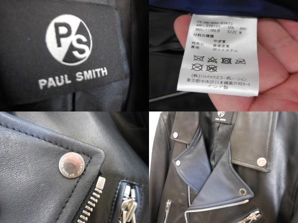 PS BY Paul Smith ポール・スミス ダブルライダースジャケット サイズM ブラック/黒 メンズ やぎ革_画像3