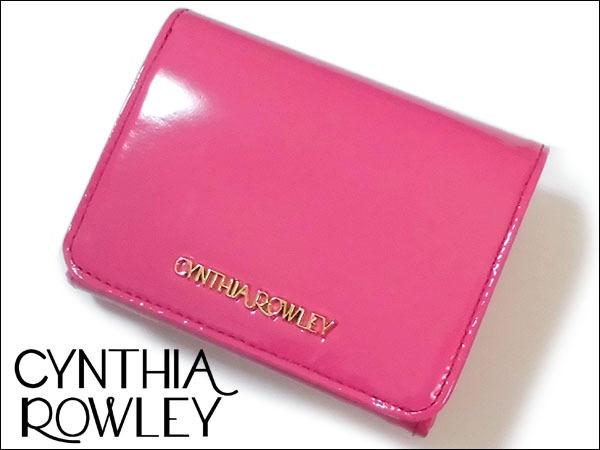 [アウトレット] シンシアローリー 牛革 エナメル 二つ折り財布 [送料185円] ピンク CYNTHIA ROWLEY レディス 箱無し