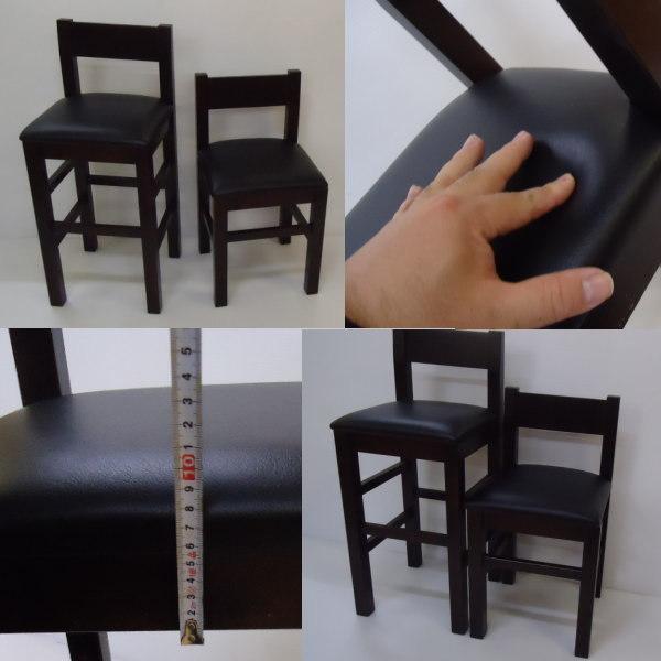 送料無料 国産の受注生産 業務用 和洋風レザー椅子 居酒屋店舗用H65cm 背あり小4脚セット 完成品DBR_画像5