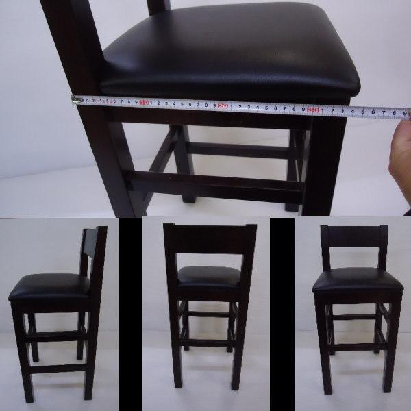送料無料 国産の受注生産 業務用 和洋風レザー椅子 居酒屋スタンドH80cm 背あり大4脚セット 完成品DBR_画像3