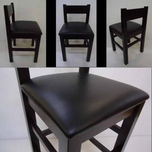 送料無料 国産の受注生産 業務用 和洋風レザー椅子 居酒屋店舗用H65cm 背あり小4脚セット 完成品DBR_画像3