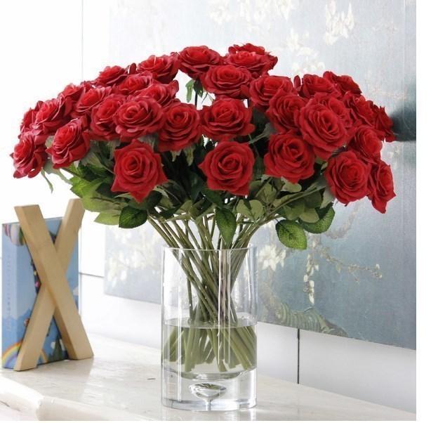 【新品】大量25本 バラ 高級造花 アートフラワー シルクフラワー 花束 薔薇 ローズ アレンジメント ブーケ プレゼント お祝い 結婚式 赤_画像1