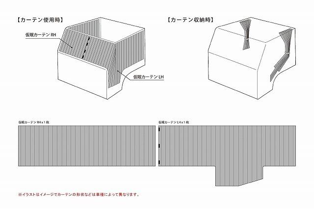【送料無料】トラック用品 内装 雅(ミヤビ) 車種専用設計!スーパーグレート/ベストワンファイター 仮眠カーテン(2400×850mm) ブラック_画像2