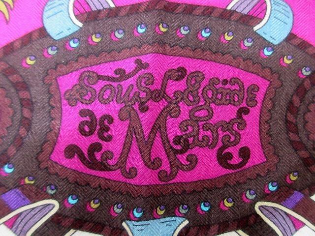 美品 エルメス ■ カシミア65% シルク35% スカーフ140 Sous l'egide de mars 軍神マルス 2018年秋冬 カレ 小物 箱付 HERMES (62686B_画像2