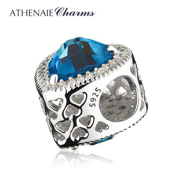 【送料無料】ATHENAIE パンドラ適合 チャーム シルバー925 CZパヴェ 925 Silver CZ Paved Charm Bead Fit Pandora ハート型ムーンブルー_画像2