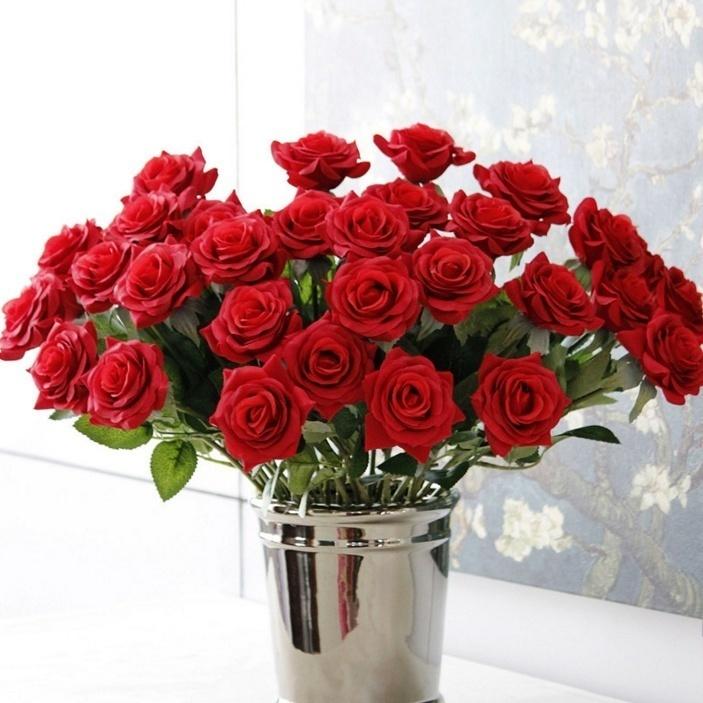 【新品】大量25本 バラ 高級造花 アートフラワー シルクフラワー 花束 薔薇 ローズ アレンジメント ブーケ プレゼント お祝い 結婚式 赤_画像2